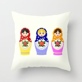 Russian matryoshka nesting dolls Throw Pillow