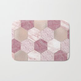 Carnation pink rose gold foil - marble hexagons Bath Mat