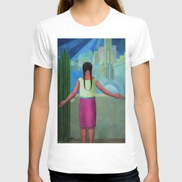 """""""The Northern Border of Mexico"""" - The Dreamers female Latina portrait painting by Angel Zarraga T-shirt"""