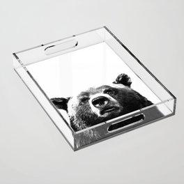 Black and white bear portrait Acrylic Tray