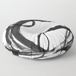 Black Ink Geometric Abstract Painting Rings 3 Floor Pillow