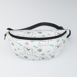 Little bulldog with blue hearts pattern Fanny Pack