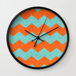 chevron - teal and orange Wall Clock