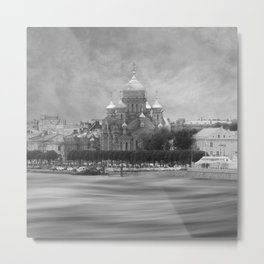 View from the Neva b&w Metal Print