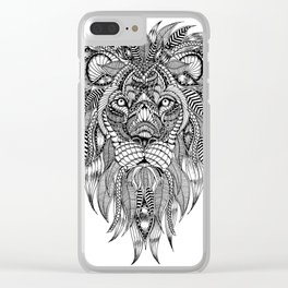 Lion face art Clear iPhone Case