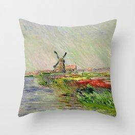 "Claude Monet ""Tulip field in Holland (Champ de tulipes en Hollande)"" Throw Pillow"