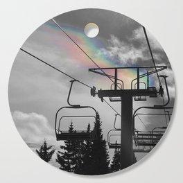 4 Seat Chair Lift Rainbow Sky B&W Cutting Board