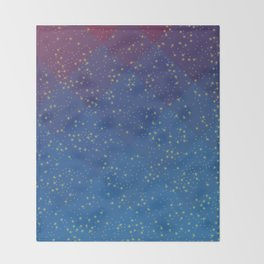 Space Pattern with Pretty Stars Throw Blanket
