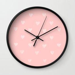 White hearts watercolor Wall Clock