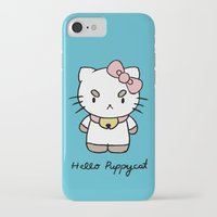 bee and puppycat iPhone & iPod Cases featuring Hello Puppycat by Nate Galbraith