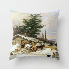 Cornelius Krieghoff Settler's Log House Throw Pillow