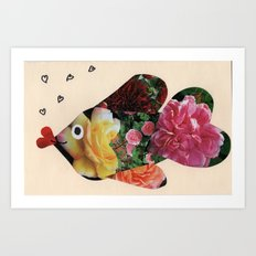 Flower Fish Valentine Art Print