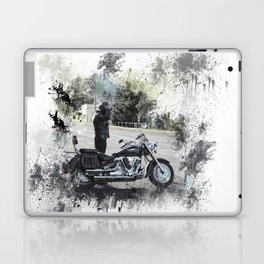 Biker near motorcycle on white Laptop & iPad Skin
