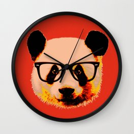 Panda with Nerd Glasses in Red Wall Clock