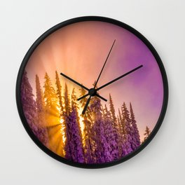 winter mountain sky forest gradient 0278 Wall Clock