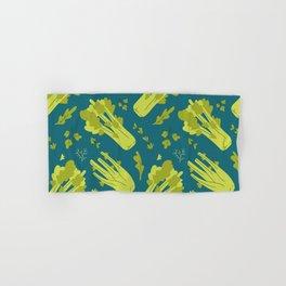 Hand drawn flat illustration of celery vegeteble. Cute cartoon pattern of vegetarian food Hand & Bath Towel