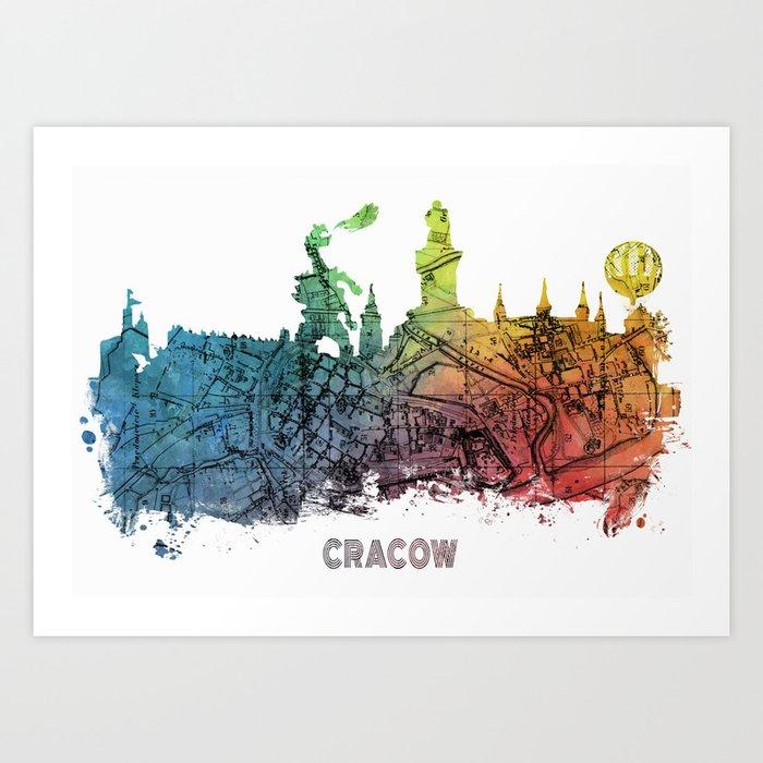Cracow City Skyline  map #krakow #cracow Art Print