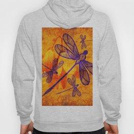 Navy-blue embroidered dragonflies on textured vivid orange background Hoody