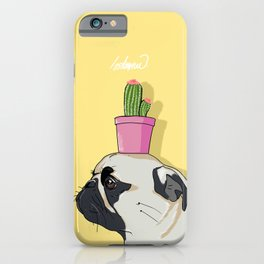 Pug Flower Pot Cactus iPhone Case
