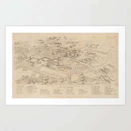 Vintage Pictorial Map of Oxford England (1850) Art Print