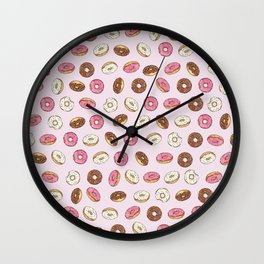 ALL the donuts! Rainbow on Pink Wall Clock