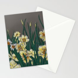 Yellow daffodils in grey background  Stationery Cards
