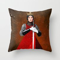 queen Throw Pillows featuring Queen by Ed Pires