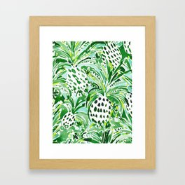 TROPICAL SITCH Green Pineapple Watercolor Framed Art Print