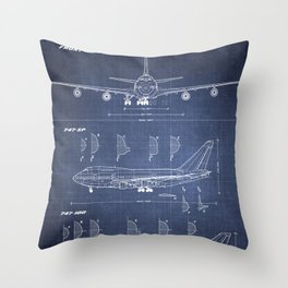Boeing 747-SP and 747-100 Blueprint in High Resolution (dark blue) Throw Pillow