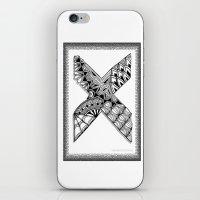 xmen iPhone & iPod Skins featuring Zentangle X Monogram Alphabet Illustration by Vermont Greetings