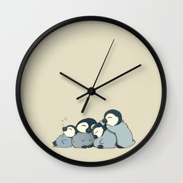 Pile of penguins Wall Clock