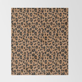 Leopard - Black Brown on Tan Throw Blanket