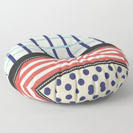 Mixed Patterns Red Navy Floor Pillow