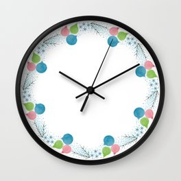 Lovely Minimalist Watercolor Christmas wreath with twigs and balls Wall Clock
