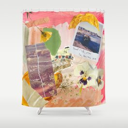 Abstract Textured Collage Pattern - Pressed Flowers, Paint, Vintage Photos Shower Curtain