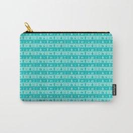 Tiffany Aqua Blue Womens Make-up Stripes Carry-All Pouch