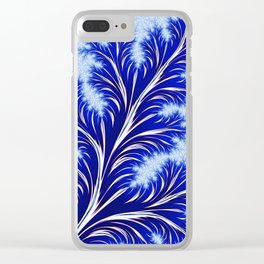 Abstract Blue Christmas Tree Branch with White Snowflakes Clear iPhone Case