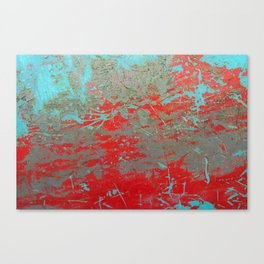 texture - aqua and red paint Canvas Print