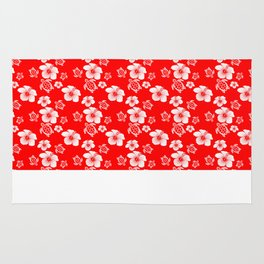 Red And White Turtles Hawaiian Pattern Rug