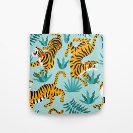 Asian tigers and tropic plants on background. Tote Bag