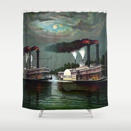 Race Of The Steamers Robert E. Lee and Natchez Shower Curtain