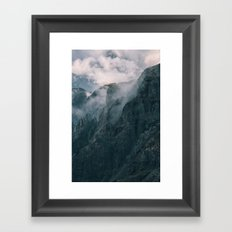 Misty cliffs Dolomites, Italy Framed Art Print