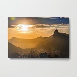 Rio De Janerio Skyline Sundown Metal Print