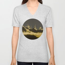 Mid Century Modern Round Circle Photo Graphic Design Mysterious Black Mountains With Rising Clouds Unisex V-Neck