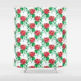 Christmas Poinsettia Flower Watercolor Decor Shower Curtain
