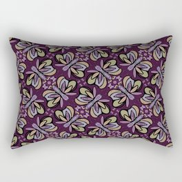 Field of Lilac Butterflies , Purple Wings Patterns in Geometric Formation with Flowers Rectangular Pillow
