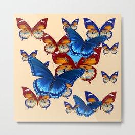 #2 MODERN ART DECORATIVE BLUE-BROWN  BUTTERFLIES Metal Print