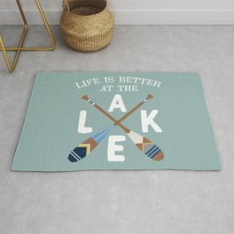 Life Is Better At The LAKE Painted Paddles Rug