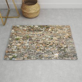 Stone Wall With Weeds Rug