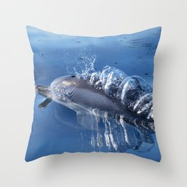 Dolphins and bubbles Throw Pillow